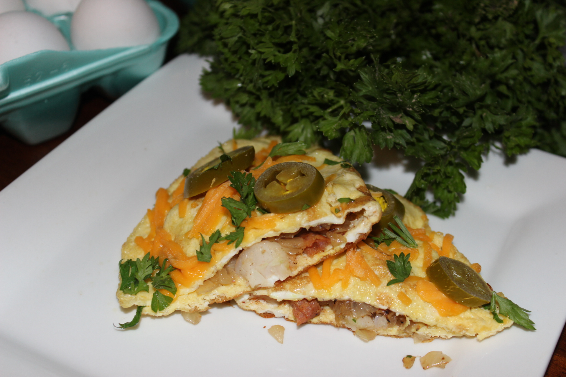 Shrimp and Andouille Sausage Omelette