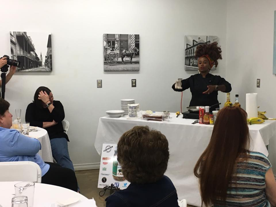 Chef Toya Performing A Cooking Demo at NUCCIO's Kitchen